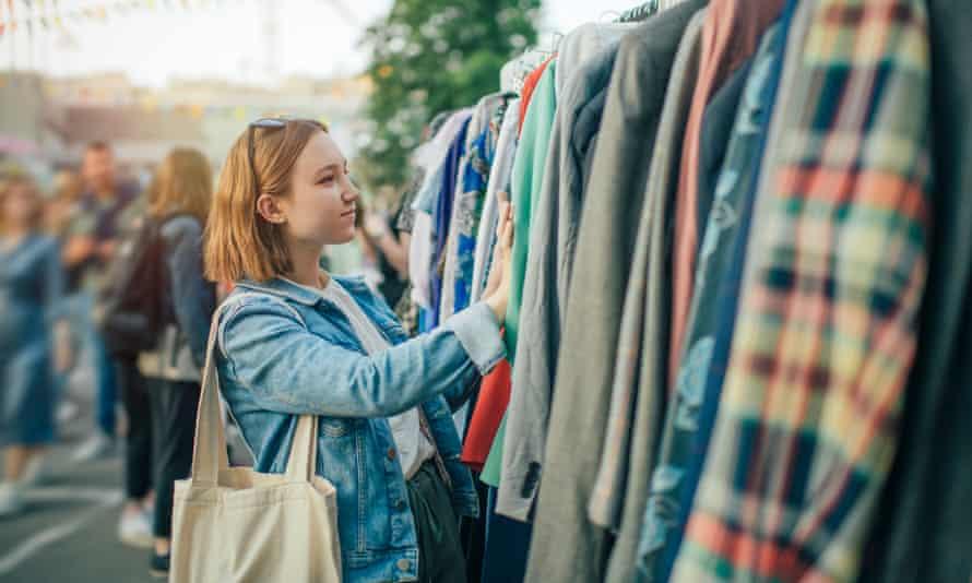 Teenager shopping at a flea market