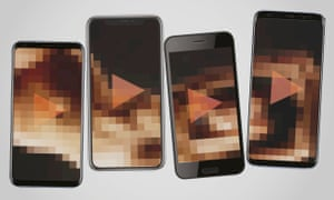 smartphones showing pixellated sexual images