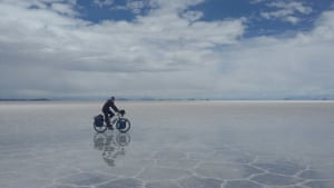 Woman with altitudeCycling across the Salar de Uyuni, BoliviaPhotograph: Jesse Gill/GuardianWitness