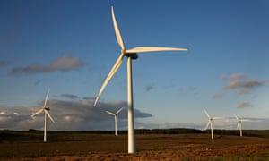 Turbines at sunset on Green Rigg Wind Farm