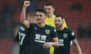Burnley's Ashley Westwood celebrates after the match.