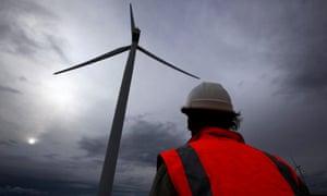 A wind turbine near Lake George in Canberra