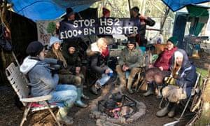 Protestors at South Cubbington woods at the HS2 protest camp.