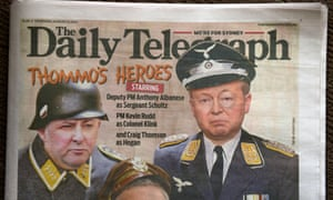 Kevin Rudd depicted in a digitally altered image as the bumbling Nazi TV character Colonel Klink from Hogan's Heroes on the front of the Daily Telegraph.