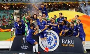 Chelsea's Gary Cahill, Cesar Azpilicueta and team mates celebrate winning the Europa League with the trophy.