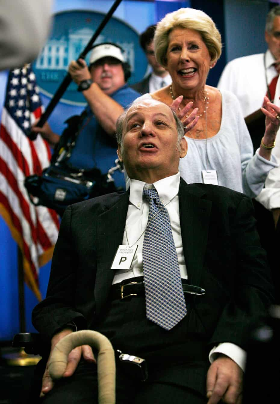 James Brady, former White House press secretary, shown with his wife Sarah on 16 June 2009, became a gun control activist after the assassination attempt.