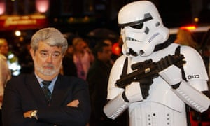 Man meets machine: Star Wars creator George Lucas poses with a Storm Trooper at the UK premiere of Revenge of the Sith in 2005.