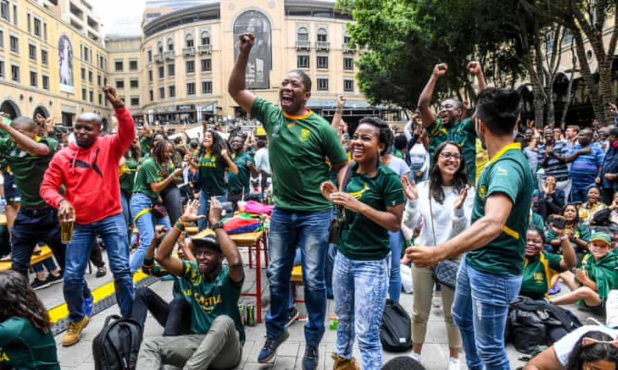 Fans in Johannesburg celebrate during South Africa's victory in the World Cup final over England.