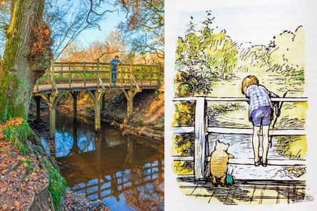 Pooh Sticks Bridge in Ashdown Forest, and the EH Shepard's illustration of it in AA Milne's Winnie the Pooh.