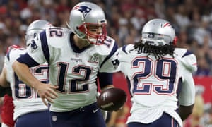 Tom Brady fakes a hand-off to LeGarrette Blount
