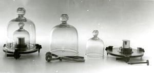 The platinum-iridium cylinder (right) was the primary standard kilogram for all metric measurements.