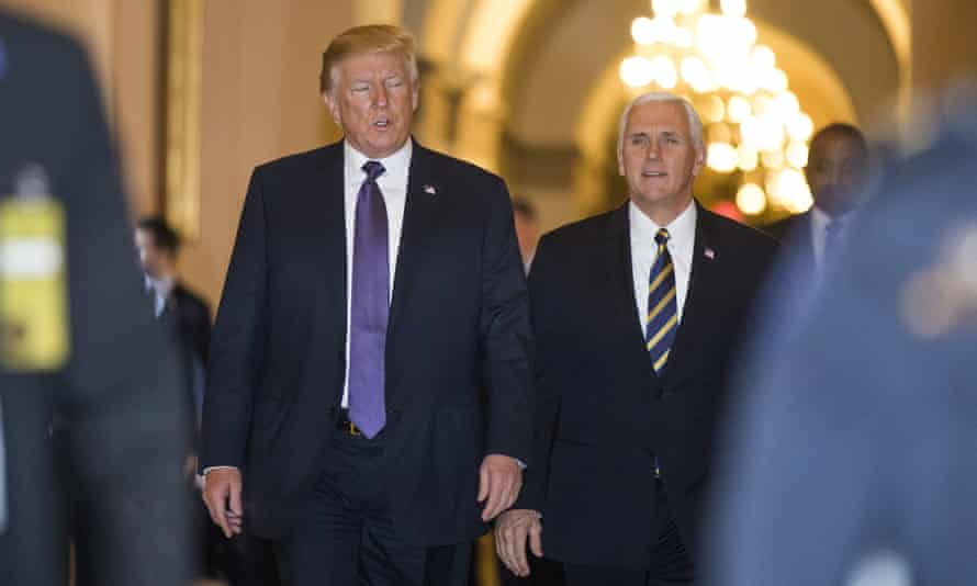 Donald Trump and Mike Pence leave the Capitol after meeting with members of Congress on the GOP tax reform bill on Thursday.