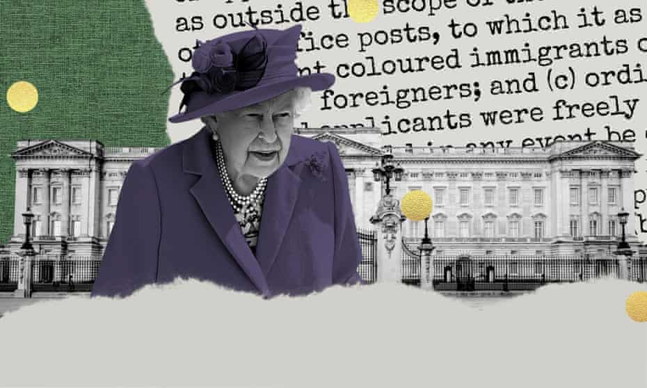 Illustration showing the Queen, Buckingham Palace and a document