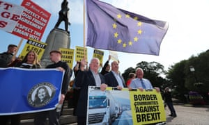 Border Communities Against Brexit members outside Stormont House in Belfast on Wednesday.