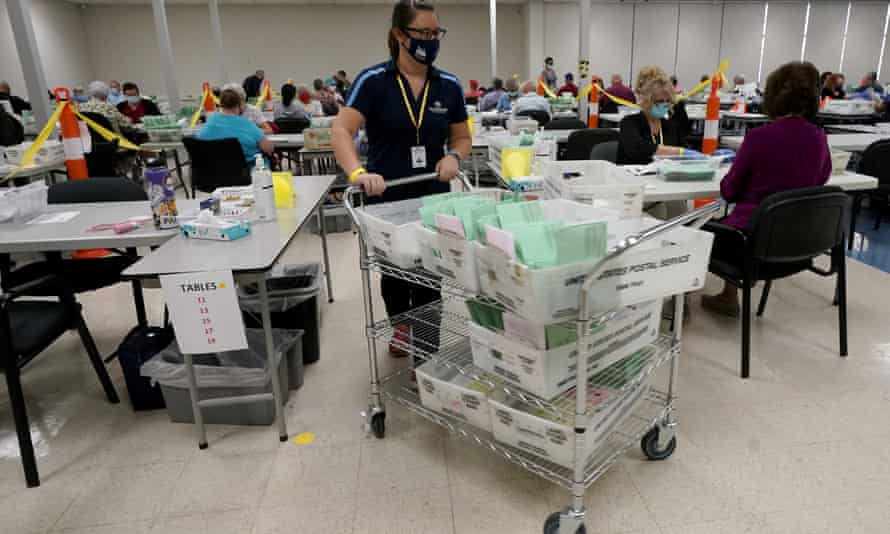 Election workers sort early ballots in October 2020, at the Maricopa county recorder's office in Phoenix.