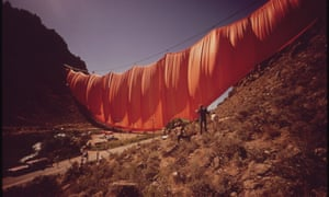 1972, ColoradoChristo's six-ton, $700,000 curtain billows across Rifle Gap. State officials gave permission for the curtain to hang for one month, but canyon winds tore it to shreds within 24 hours.