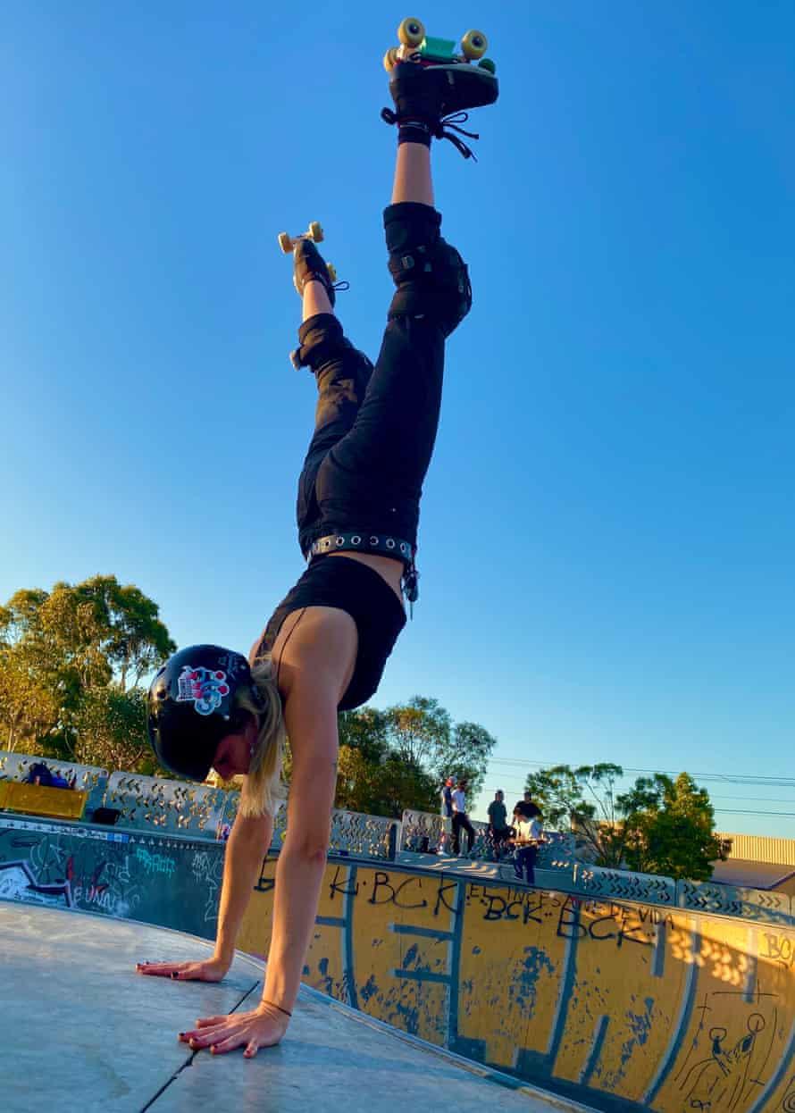 Dozer of Brunny Hardcore does a handstand at Brunswick Skate Park in Melbourne