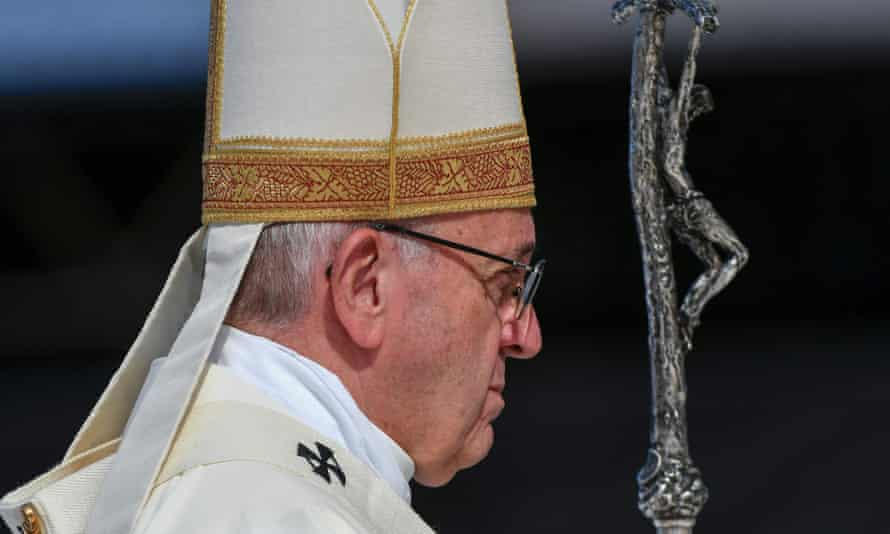 Pope Francis looks on during the final mass