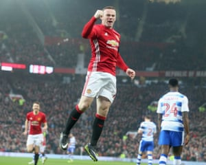 Wayne Rooney celebrates scoring Manchester United's first goal during their 4-0 win over Reading