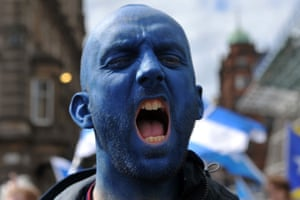 A man chants during the march for independence