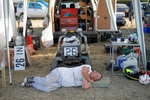 Jon Paice of the Swing Low Sweet Chariot team catches up on some sleep.
