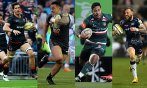 Left to right, Saracens Michael Rhodes, Sinoti Sinoti of Newcastle Falcons, Manu Tuilagi of Leicester and Byron McGuigan of Sale Sharks.