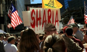 People demonstrate against allowing an Islamic community center near Ground Zero at a rally in lower Manhattan on 11 September 2010 in New York. The anti-sharia law movement became a force in the wake of the controversy.