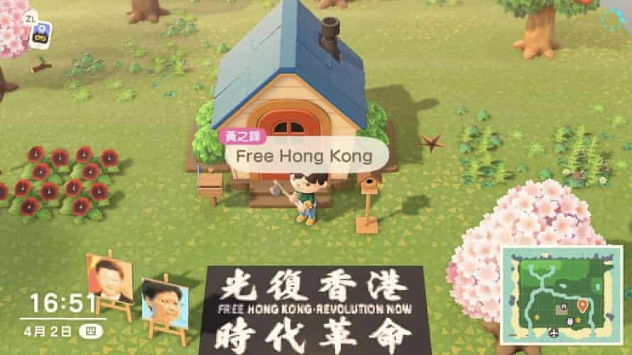 A screenshot of Hong Kong protest on Animal Crossing: New Horizon tweeted by Joshua Wong.