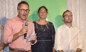 Greens leader Dr Richard Di Natale, Greens candidate for Batman Alex Bhathal and Greens deputy leader Adam Bandt (right) concede defeat in Batman on Saturday.
