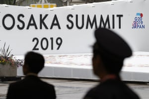 The logo of G-20 summit is displayed at the International Exhibition Center shows, in Osaka, Japan.