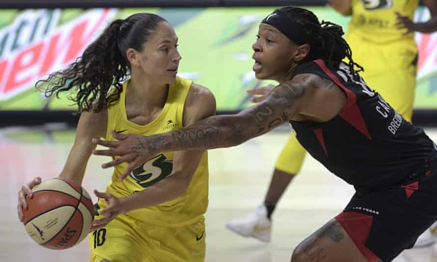 Seattle Storm guard Sue Bird and Las Vegas Aces forward Emma Cannon compete during Game 2 of the WNBA finals