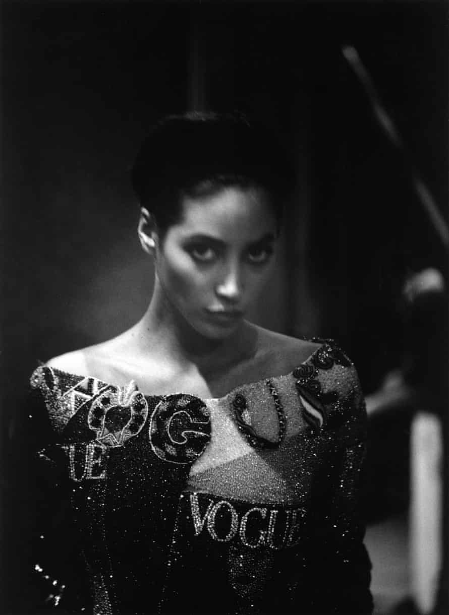 Christy Turlington backstage at the Versace Womens RTW SS 1991 show, Milan 1990