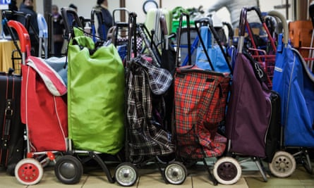 NEW YORK, NY - November 23rd, 2015: Shopping carts lined up at the West Side Campaign Against Hunger on Monday morning. CREDIT: Alex Welsh for The Guardian
