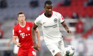 Eintracht Frankfurt's Evan N'Dicka in action v Bayern Munich