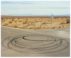 Circular tyre marks on road