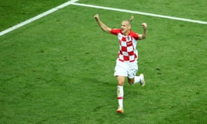 Domagoj Vida celebrates after Croatia's first goal in the World Cup final in Russia.