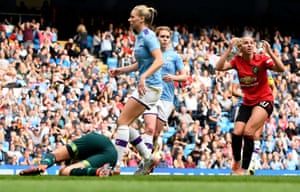 Jackie Groenen of Manchester United reacts as the ball hits the post.