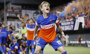 FC Cincinnati midfielder Jimmy McLaughlin reacts after his team upset Chicago Fire in MLS Cup