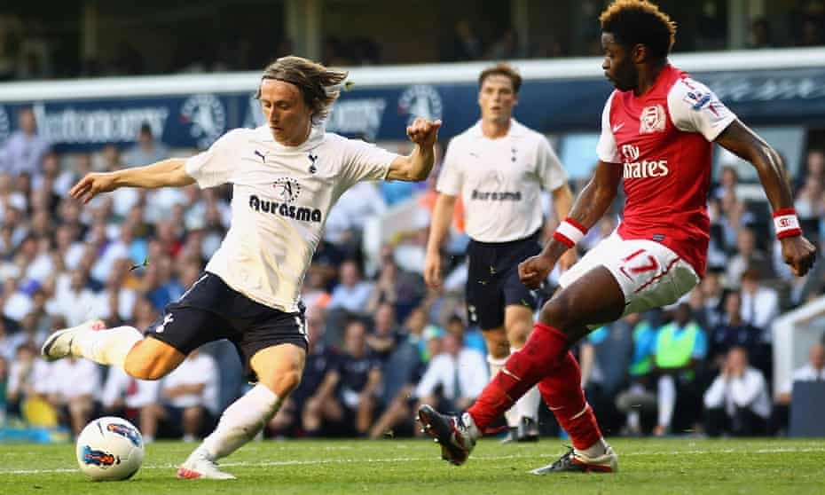 Luka Modric takes aim during a north London derby at White Hart Lane in October 2011, during his final season at Spurs