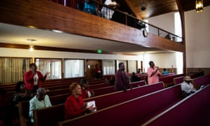 Congregants during Sunday service at Pleasant Grove Baptist church.