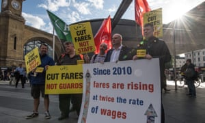 Rail union members protesting outside King's Cross station.
