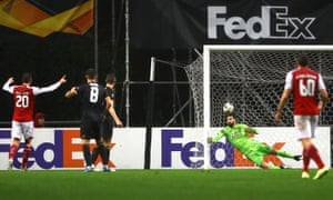 Rui Patricio of Wolverhampton Wanderers is beaten for the opening goal by Andre Horta of Braga.