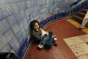Zulema, 17, is pictured with son Tobías in subway