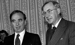 William Rees-Mogg, then editor of the Times, with Rupert Murdoch, the paper's new owner, in 1981.