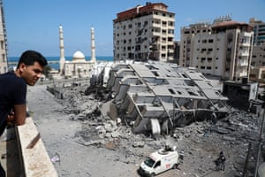 A destroyed building in Gaza City, following a series of Israeli airstrikes