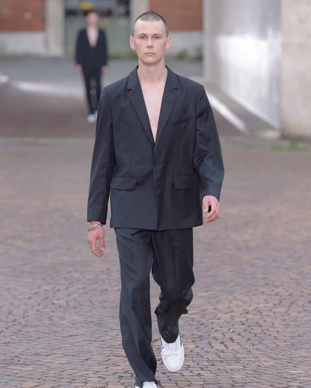 Suits on the Gosha Rubchinskiy catwalk.