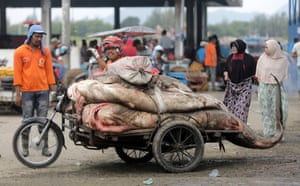 Banda Aceh, Indonesia: Fisherman transport sharks to the fish market in the traditional fishing port of Banda Aceh