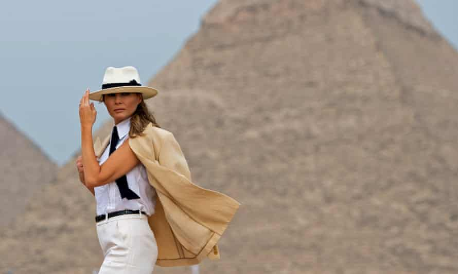 First lady Melania Trump visits the Giza Pyramids on 6 October.