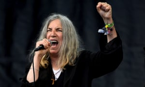 The alternative Dylan? … Patti Smith performs at Glastonbury in 2015.