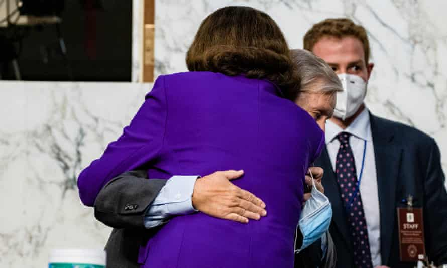 Dianne Feinstein hugs Lindsey Graham. Feinstein praised the proceedings as 'one of the best set of hearings that I've participated in'.